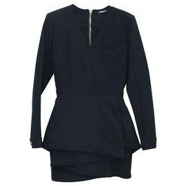 Balmain-Paneled Wool Dress-Black