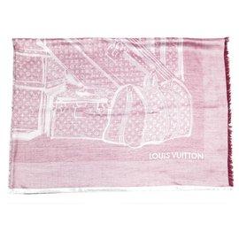 Louis Vuitton-NEW CHALE LOUIS VUITTON MONOGRAM R BAGS AND TRUNKS98142 CASHMERE SILK + BOX-Dark red