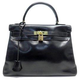 Hermès-VINTAGE HERMES KELLY HANDBAG 33 Return 1970 BLACK LEATHER BOX HANDBAG-Black