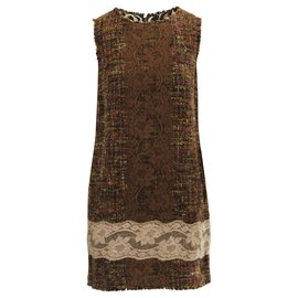 Dolce & Gabbana-Tweed & Lace Multifabric Dress-Brown