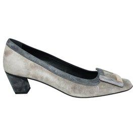 Roger Vivier-Belle Vivier 45mm Grey Suede Heels-Grey