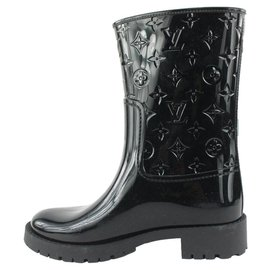 Louis Vuitton-Size 39 Black Drops Flat Half Boot Rain-Other