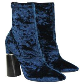 3.1 Phillip Lim-Velvet ankle boots-Blue,Navy blue