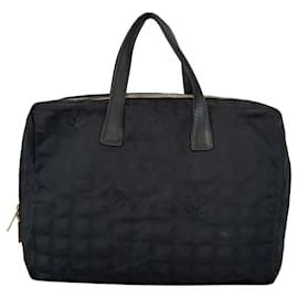 Chanel-Chanel Black New Travel Line Canvas Tote Bag-Black