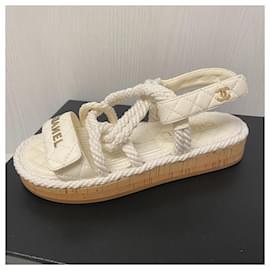 Chanel-Chanel dad sandals-White