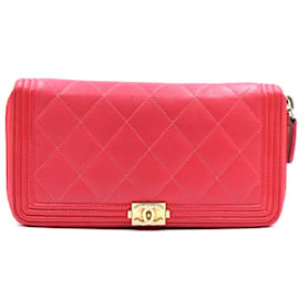 Chanel-Chanel Red Boy Caviar Leather CC Zip Around Long Wallet-Red