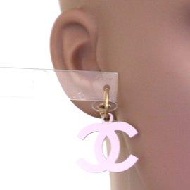 Chanel-Chanel Gold Pink CC Dangle Pierced Earrings-Pink