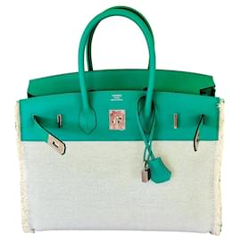 Hermès-Hermès Birkin Fray Fray 35 cm Mint Green-Green,Cream