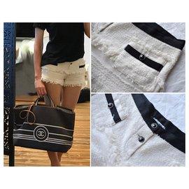 Chanel-Rare Tweed Shorts CC logo buttons-Black,White,Cream