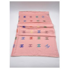 Chanel-Chanel CC scarf 2021 Pink silk-Pink,Multiple colors