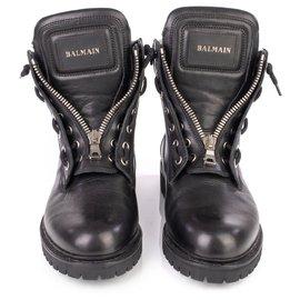 Balmain-Balmain Black Leather Taiga Ranger Boots-Black