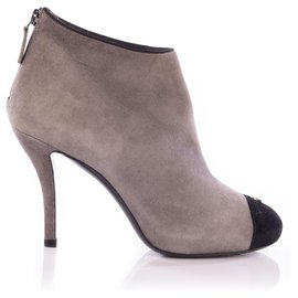 Chanel-Chanel Grey/Black Suede Cap Toe CC Logo Platform Ankle Boots-Grey