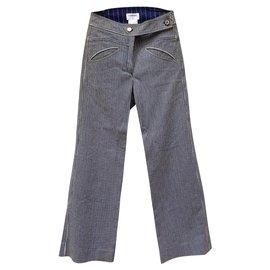 Chanel-Wide Runway Trousers-Blue