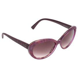Dior-Lunettes de soleil ovales teintées violettes en taffetas Dior-Gris,Violet