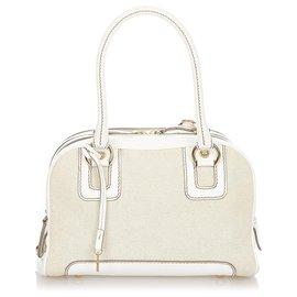 Dolce & Gabbana-Dolce&Gabbana Brown Canvas Handbag-Brown,White,Beige