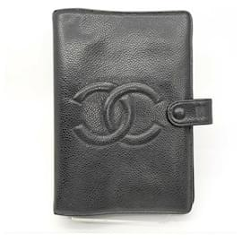 Chanel-Black Caviar Leather Small Ring Agenda Diary Cover Notebook-Other