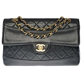 Chanel-Ravissant & Rare Chanel Timeless / Classique bag in partially quilted black leather with its matching wallet-Black