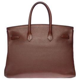 Hermès-Superbe Sac à main Hermès Birkin 35 en cuir Courchevel marron, garniture en métal plaqué or-Marron