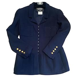 Chanel-Jackets-Navy blue,Gold hardware