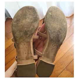 Chanel-Chanel leather Camellia sandal shoes EU38-Beige