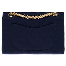 Chanel-Superb Timeless lined flap bag in navy blue quilted jersey , garniture en métal doré-Blue