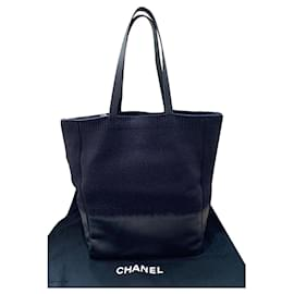 Chanel-Chanel wool and leather tote bag-Black