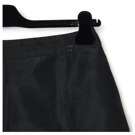 Chanel-SKIRT 05A SILK BLACK MICRO PEARLS FR38-Black