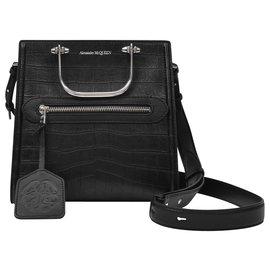 Alexander Mcqueen-The Short Story Bag in Black Leather-Black