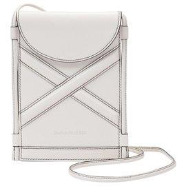 Alexander Mcqueen-The Curve Micro Bag in Beige Leather-White,Cream