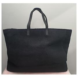 Chanel-Shopper chanel XL cotton and leather-Black,White