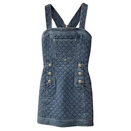 Balmain-BALMAIN Blue Denim Buttons Dress Sz.34-Blue
