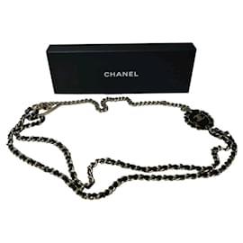 Chanel-CHANEL B16 Interwoven Leather Chain CC Logo Necklace/Belt-Black,Golden