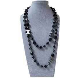 Chanel-Chanel CC Black pearl Necklace and Earrings Set-Black