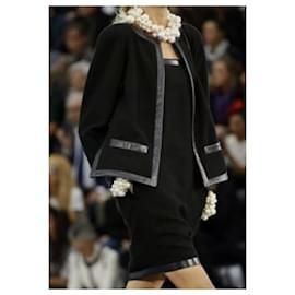 Chanel-Chanel Black Wool Leather Trimmed Dress Jacket Set  Suit Sz.50-Black