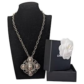 Chanel-Chanel Gripoix CC Ruthenium Necklace B18 A-Black