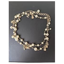Chanel-CHANEL B18B long charm pearl necklace-Beige