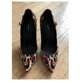 Dolce & Gabbana-Dolce & Gabbana Calf Hair Bellucci Pump with Swarovski Crystals-Leopard print
