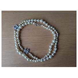 Chanel-Chanel CC Pearl Long Classic Timeless Necklace-Cream