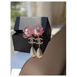 Chanel-CHANEL A18P Clip On Flower Earrings with Pearls-Multiple colors