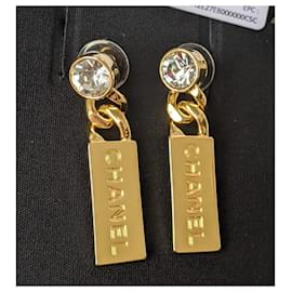 Chanel-Chanel L21V Tag Gold Hardware Crystal earrings-Gold hardware