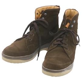 Louis Vuitton-LOUIS VUITTON Suede Boots Shoes Brown LV Auth 23091-Brown