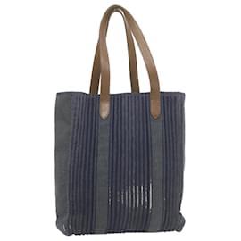 Hermès-HERMES Calicut Tote Bag Navy Canvas Auth yt088-Bleu Marine