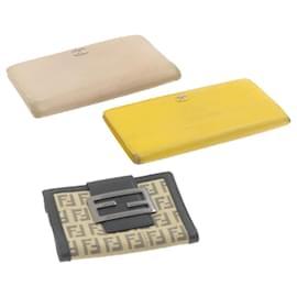 Chanel-CHANEL FENDI Zucchino Canvas Wallet 3Set Beige Black YellowAuth rd2042-Black,Beige,Yellow