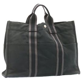 Hermès-HERMES Fourre Tout MM Hand Bag Black Cotton Auth 23122-Black