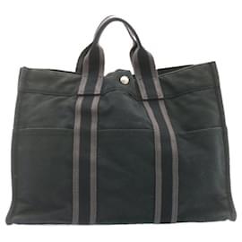 Hermès-HERMES cabas MM Sac à main Noir Coton Auth 23122-Noir