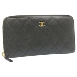 Chanel-CHANEL Matelasse Caviar Skin Around Zip Long Wallet Black CC Auth gt1152-Black