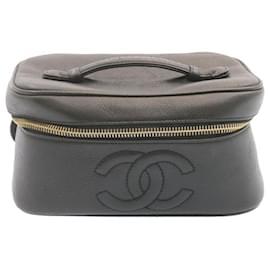Chanel-CHANEL Caviar Skin Vanity Cosmetic Pouch Hand Bag Black CC Auth yk1881-Black