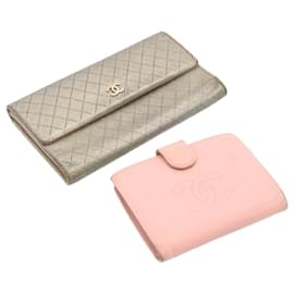 Chanel-CHANEL Matelasse Caviar Skin Wallet Silver Pink Leather 2Set CC Auth yt428-Pink