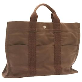 Hermès-HERMES Her Line MM Hand Bag Canvas Brown Auth 23200-Brown