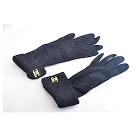 Chanel-CHANEL Suede Gloves Black Size 7inch CC Auth sa2319-Black